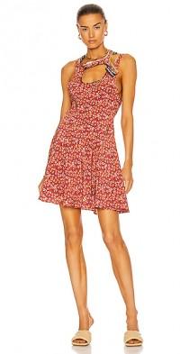 Bias Y Collar Mini Dress