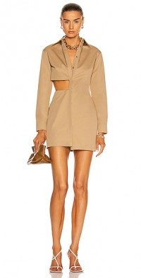 Cutout Mini Shirt Dress