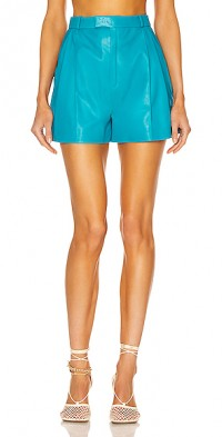 Pleated Leather Short