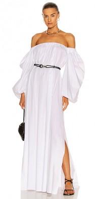 Puff Belted Midi Dress