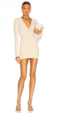 V Neck Mini Knit Dress