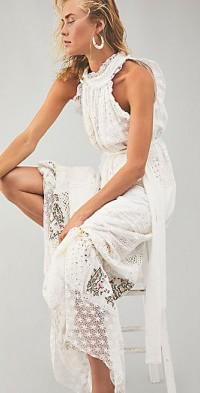 Halcyon Patchwork Halter Dress