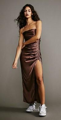 Shona Joy Lily Biased Ruched Midi Dress