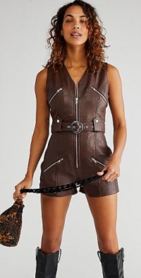 Understated Leather Moto Romper