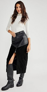 Understated Leather Suede Mix Maxi Skirt