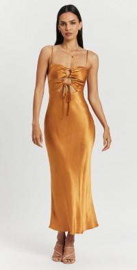 Alma Lace Up Midi Dress