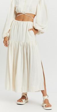 Brigitte Drawstring Split Midi Skirt