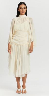Iris Long Sleeve Open Back Midi Dress