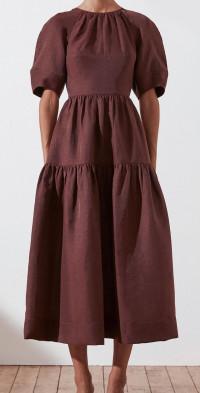 Marlene Short Sleeve Open Back Midi Dress
