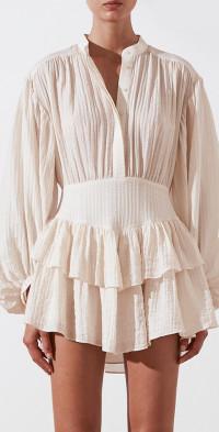 Mila Button Up Frill Mini Dress