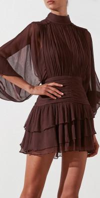 Olympia Long Sleeve Ruched Mini Dress