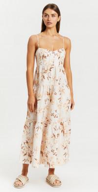 Roxane Linen Tiered Midi Dress   Iconic Exclusive