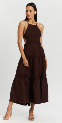 Rubi Shirred Backless Midi Dress