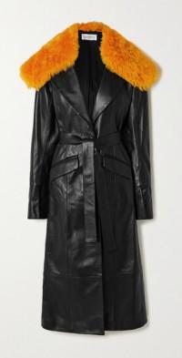 Davina belted shearling-trimmed leather coat
