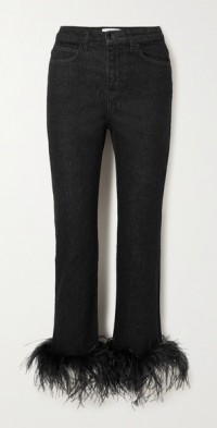 Feather-trimmed high-rise skinny jeans