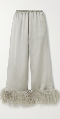 Mandrake cropped feather-trimmed satin pants