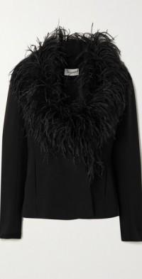 Nemi feather-trimmed crepe blazer