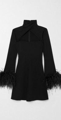 Odessa twist-front feather-trimmed crepe mini dress
