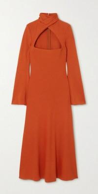 Odessa twist-front wool-blend midi dress