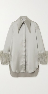 Seymour feather-trimmed satin shirt