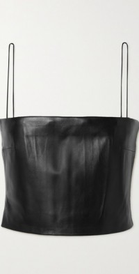 Tai cropped leather camisole