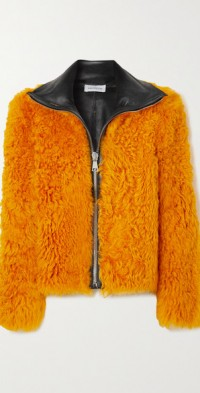 Zarzar leather-trimmed shearling jacket