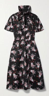 Bow-detailed floral-print stretch-cotton poplin midi dress