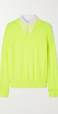 Poplin and crocheted lace-trimmed wool sweater