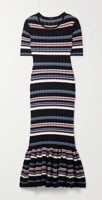 Striped ribbed cotton-blend midi dress