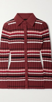 Striped ribbed cotton-blend polo shirt