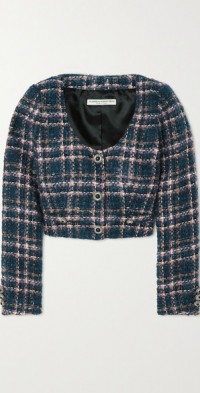 Cropped button-embellished checked tweed jacket