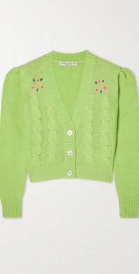 Cropped cable-knit alpaca-blend cardigan