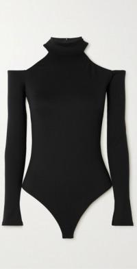 Leona cold-shoulder stretch-jersey thong bodysuit