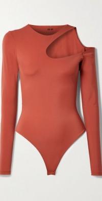 Wrenn one-shoulder cutout stretch-jersey thong bodysuit