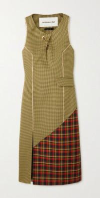 Charlotte cutout paneled checked crepe midi dress