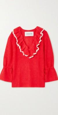 Fabiana ruffled alpaca-blend sweater