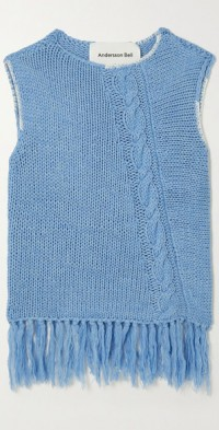 Fringed cable-knit tank