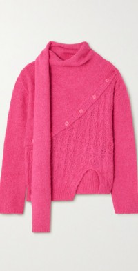 Greta asymmetric draped knitted sweater