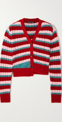 Kelly asymmetric striped recycled ribbed chenille cardigan