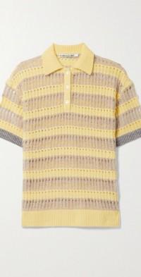 Moana striped open-knit polo shirt