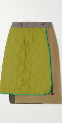 Reversible quilted shell, cotton-blend and wool-blend wrap skirt
