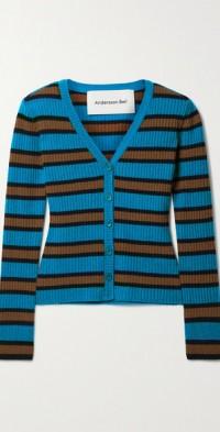 Ribbed striped wool-blend cardigan