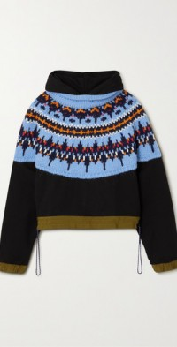 Shell-trimmed cotton-jersey and Fair Isle knitted hoodie