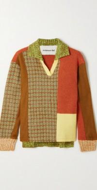 Sienna patchwork wool-blend sweater