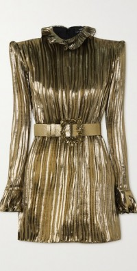 Belted ruffled silk-blend plissé-lamé mini dress