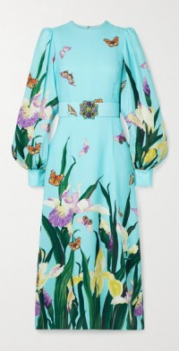 Crystal-embellished floral-print silk crepe de chine midi dress