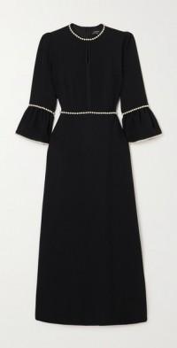 Faux pearl-embellished crepe midi dress
