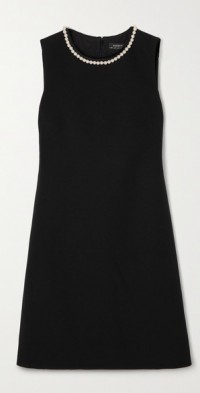 Faux pearl-embellished wool-blend crepe mini dress