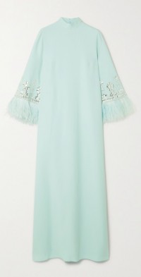 Feather-trimmed crystal-embellished crepe gown