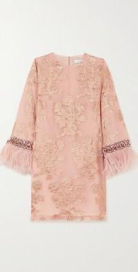 Feather-trimmed embellished metallic fil coupé silk-blend mini dress
